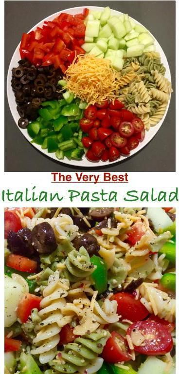 Ingredients: 1 box tri colored pasta 1 green pepper — seeded and chopped 1 red pepper — seeded and chopped 1 cucumber — chopped. - I remove the seeds      prior to chopping. (to do this, slice in half long way  And use a spoon to remove the seeds). 1 can black olives - sliced 1 ½ cup cherry tomatoes - sliced ½ cup shredded cheese Fresh cracked black pepper – to taste 1 1/2  cup Italian dressing