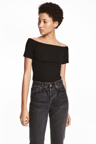 Off-the-shoulder top - Black - Ladies | H&M GB 1