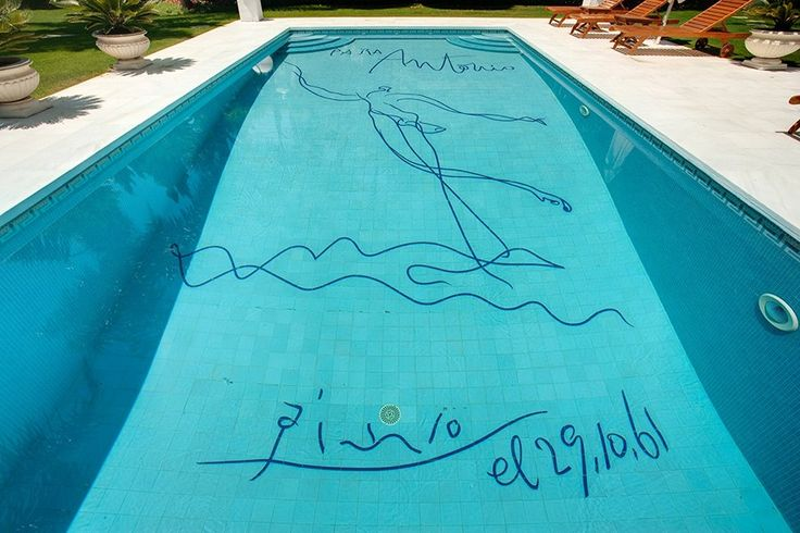 In 1961 Pablo Picasso painted and signed the bottom of the pool at Villa El Martinete, the Marbella, Spain