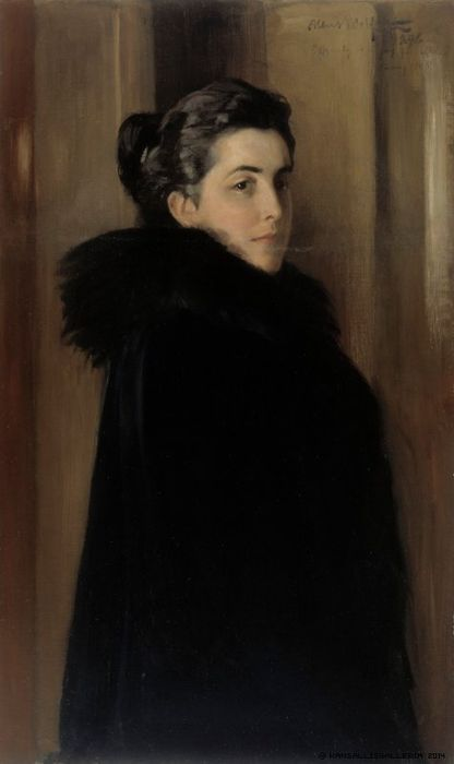 The Athenaeum - Portrait of the Artist's Wife Ellen Edelfelt (Albert Edelfelt - )