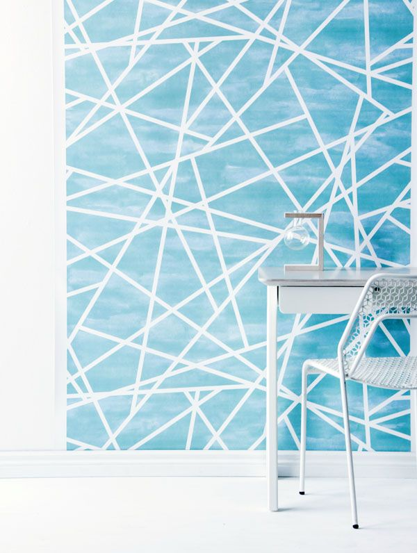 Blue Geometric print from the 'Light of Heart' Wallpaper Collection by Real Living's style editorSarah Ellison.Photo -Maree Homer.