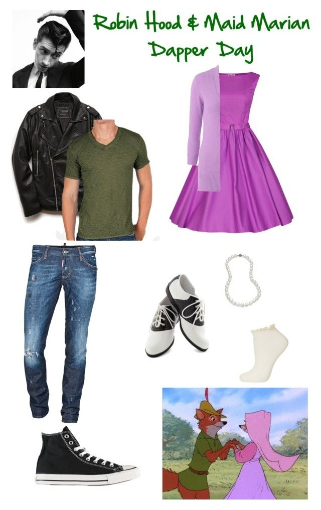 """Robin Hood & Maid Marian - Disneybound (Dapper Day)"" by pinupcokes ❤ liked on Polyvore featuring Pinup Couture, AB Studio, Topshop, Blue Nile, Dsquared2, Converse, Disney, 21 Men, BKE and disney"