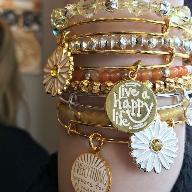 ALEX AND ANI CHARITY BY DESIGN Live A Happy Life Charm bangle | ALEX AND ANI CHARITY BY DESIGN Daisy Charm Bangle | ALEX AND ANI Everything Happens For A Reason Charm Bangle | ALEX AND ANI Cosmic Messages Beaded Bangles
