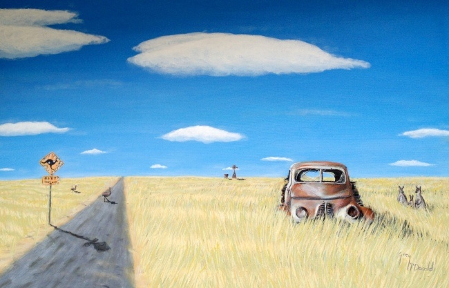 Driving Into Hay    $1,295.00    This painting is screaming character and if you want a Australian painting that is uniquely Aussie. This is it ! The road is corrugated, the road sign bullitt holed. Broken glass in the truck, problem shot out on the drive to Hay. 2012