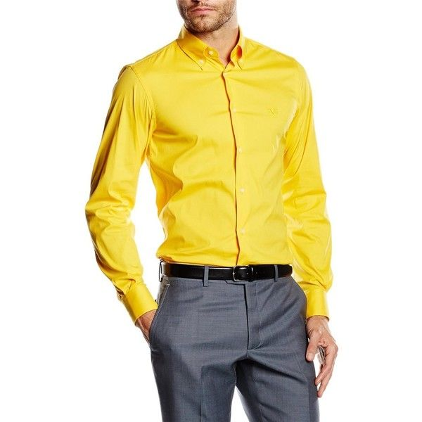 V 1969 Italia Fit Slim Button Down Neck Shirt ($110) ❤ liked on Polyvore featuring men's fashion, men's clothing, men's shirts, yellow, mens yellow dress shirt, mens long sleeve button down shirts, mens long sleeve dress shirts, mens slim fit button down shirts and mens long sleeve cotton shirts