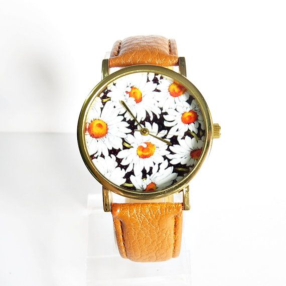 Nouveau! Daisy Summer Floral montre Style Vintage en cuir montre, montres femmes, copain Watch,