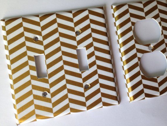 Gold Decor / Metallic Gold White Chevron Single Light Switch Plate / White Gold Bedroom Decor / Gold Nursery Decor / Gold Bathroom