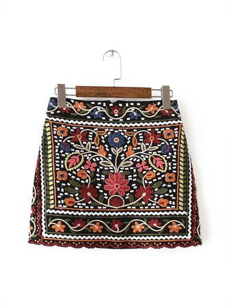 Bohemian Floral Embroidered Women High Waist A-Line Mini Skirt at Banggood