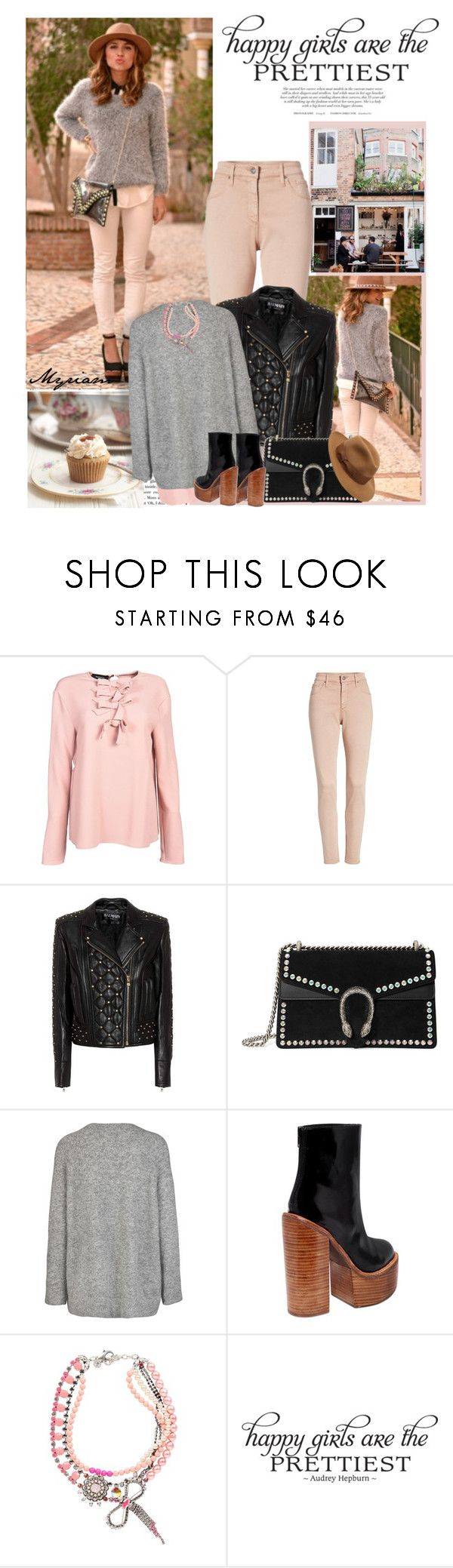 """cool girl in jacket leather"" by lovemeforthelife-myriam ❤ liked on Polyvore featuring Rochas, AG Adriano Goldschmied, Balmain, Gucci, Jeffrey Campbell, REMINISCENCE, WALL and Borsalino"