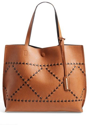 Street Level Reversible Woven Faux Leather Tote