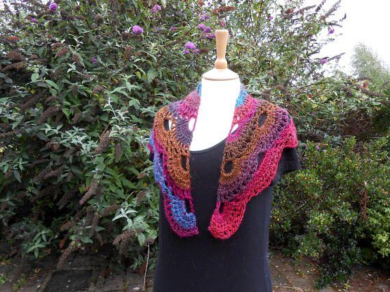 Triangle Scarf. Crochet Shawlette.  Baktus Scarf. Colourful