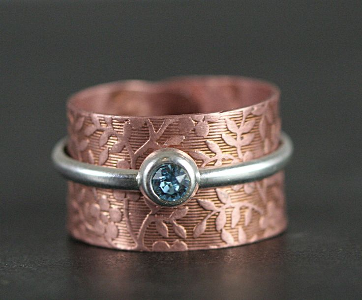 New: Mixed Media floral ring. Rose gold copper and sterling