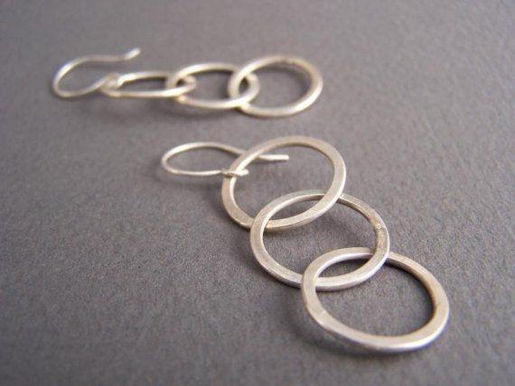 Sterling Silver Three circles hoop earrings by CynthiaDelGiudice