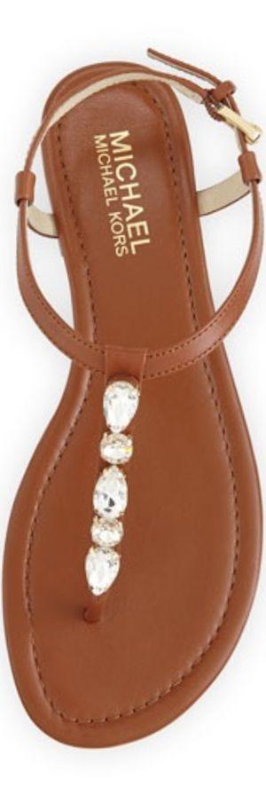Michael Kors Jayden Embellished Thong Sandal, Luggage #sergiorossioutfit