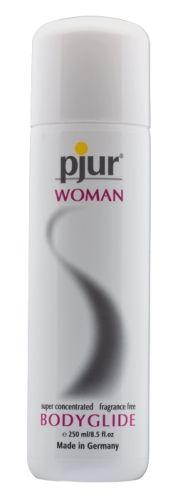 Pjur Woman Bodyglide - 250 ml fra Pjur - Sexlegetøj leveret for blot 29 kr. - 4ushop.dk - Pjur Woman blev designet specielt til kvinder og er skræddersyet til deres komfort, glæde og sensualitet. Ingen parfume eller konserveringsmidler anvendes i formlen. Pjur Woman blev udviklet specielt til en kvindes bløde og følsomme hud.  Samme høje kvalitets standard som Pjur-Original Bodyglide.