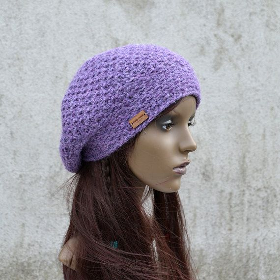 Handmade Alpaca Chunky Beret in Purple Violet by acrazysheep