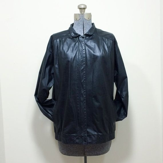 Womens Vintage 80s West Bay Sport Leathers / Saks Fifth Avenue / Black Leather Jacket / Size 6 on Etsy, $26.00