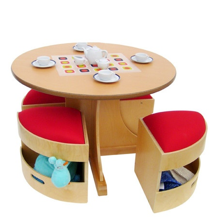 Child's Table & Storage Stools.