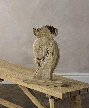 Scroll Reclaimed Teak Carved Sculpture