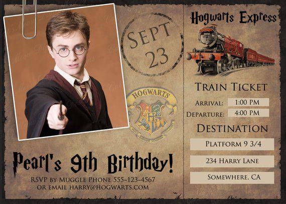 Hogwarts Harry Potter Printable Postcard Invitation Personalized Harry Potter Harry Potter Birthday Invitations Harry Potter Birthday Harry Potter Invitations