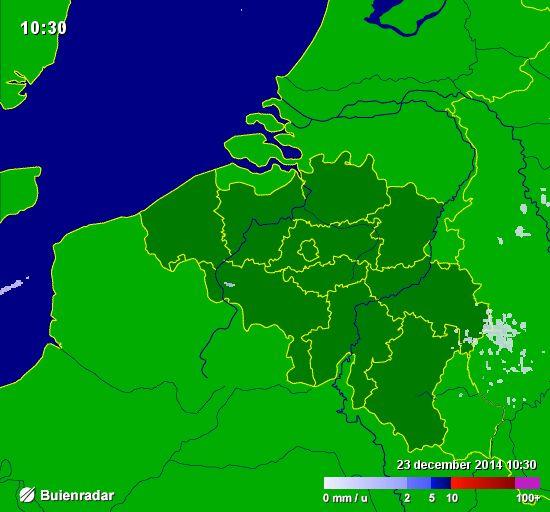 Bekijk op de buienradar waar het in ons land op dit moment aan het regenen is. Probeer te voorspellen of het ook in Brussel nog gaat regenen vandaag.