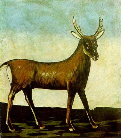 Deer Artist: Niko Pirosmani Style: Naïve Art (Primitivism) Genre: wildlife painting Dimensions: 104 x 91 cm