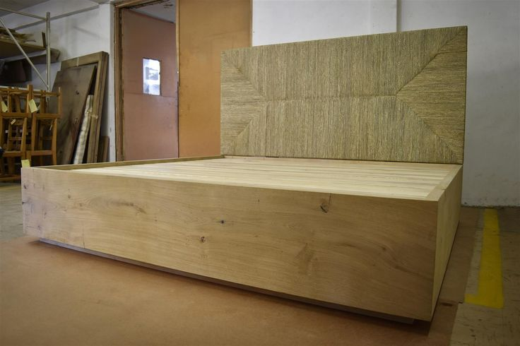 Custom Kingsize French Oak bed with Seagrass Headboard by Pierre Cronje Fine Furniture