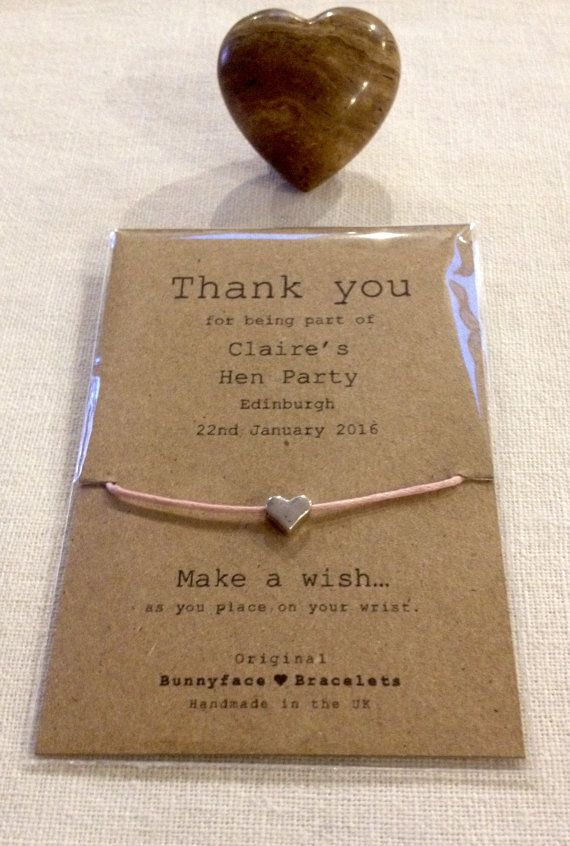 Hen party thank you wish bracelet by Bunnyface*bracelets ebay http://stores.ebay.co.uk/bunnyfacebracelets/