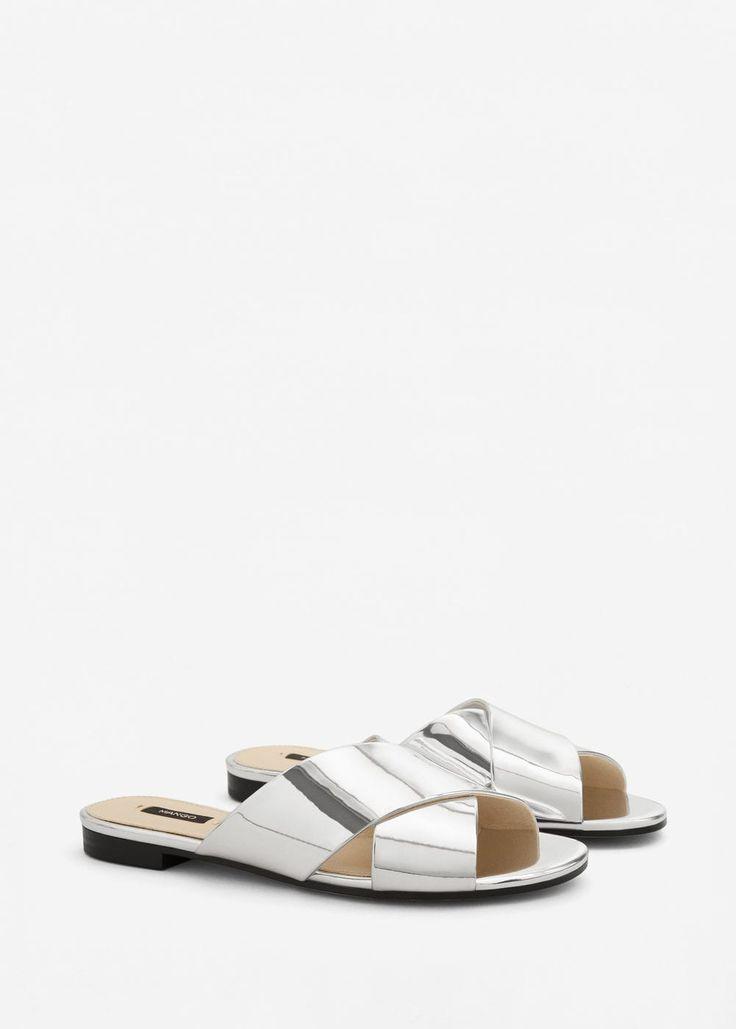 Metallic strap sandals -  Women | MANGO USA