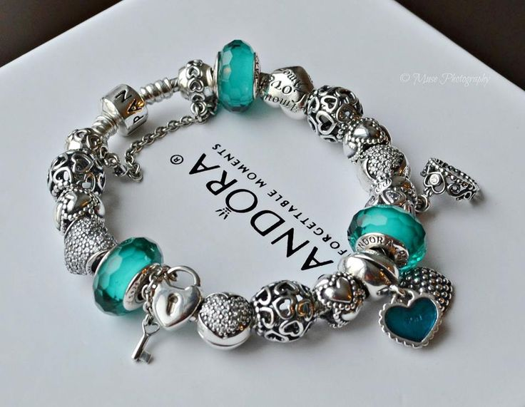 Caribbean Tropical Blue And Silver Charms Pandora Bracelet