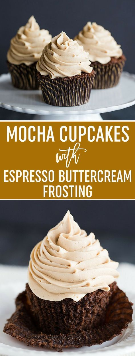 Mocha Cupcakes with Espresso Buttercream Frosting - An easy recipe and a perfect way to get your dessert and coffee fix all in one! via @browneyedbaker