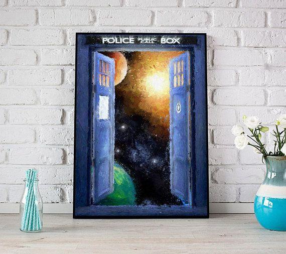 Doctor Who Tardis Print Space Art Tardis Poster Dr Who Gift Tardis Wall Decor Tardis Painting Tardis Art Doctor Who Art