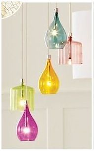 Next Hanbury Chrome 5 MultiColoured Glass Shade/Ceiling Light /Pendant/Chandelier