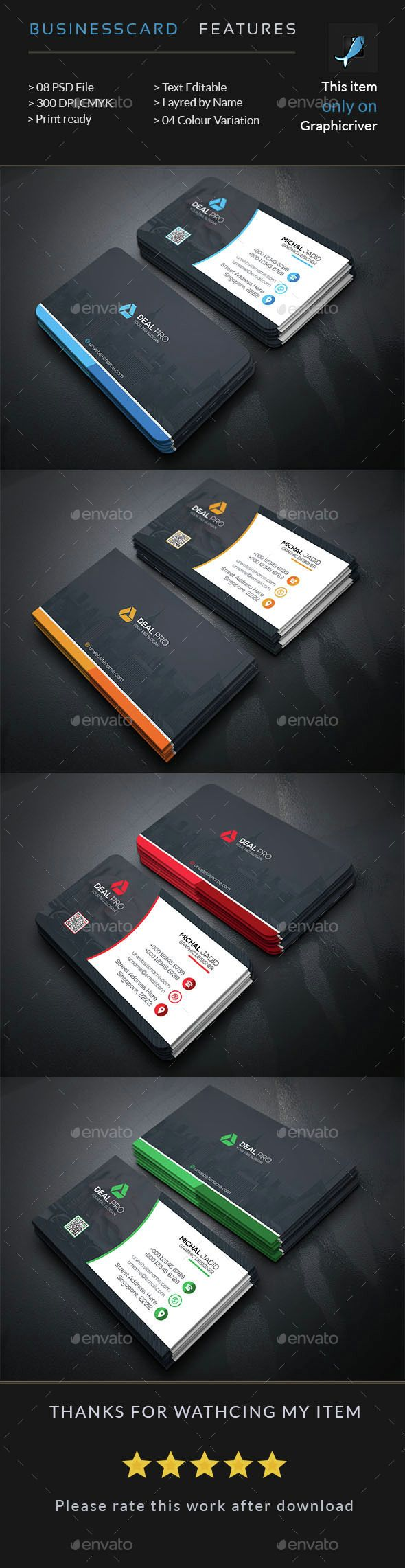 Corporate Business Card — Photoshop PSD #pack #landscape • Available here → https://graphicriver.net/item/corporate-business-card/14920557?ref=pxcr