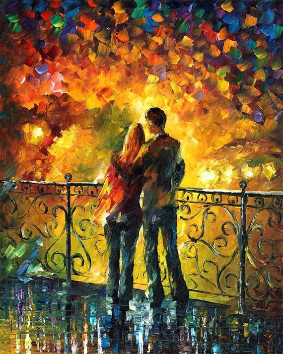 """Last Date — PALETTE KNIFE Contemporary Fine Art Oil Painting On Canvas By Leonid Afremov - Size: 24"""" x 30"""" inches (60 cm x 75 cm)"""