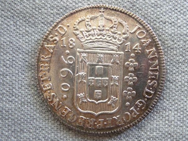 Brasil Colonia - Moeda em prata de 960 réis, 1814 Bahia, variante 24-8C, recunhada sobre 8 reales 18