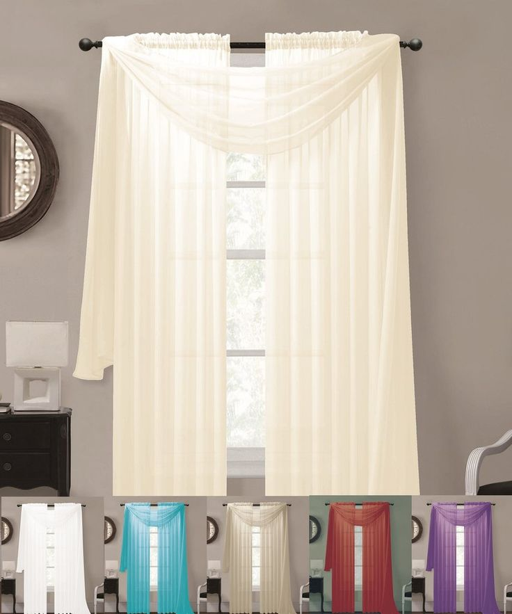 Warm home designs sheer voile curtains and scarf bundle for Window design 4 4