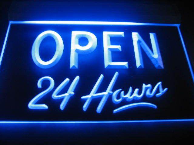 Open 24 Hours Logo Pub Light Sign Neon Blue