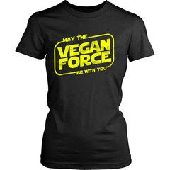 May The Vegan Force Be With You - Shirt - District Made Womens Shirt / Black / M