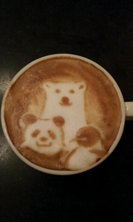 There's at least one barista out there who also thinks pandas and penguins are a good combination!