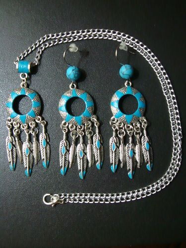 Native American Star Jewelry Set Earrings Necklace and Pendant Pick A Color | eBay18 99 Click, Blue Gold, Jewelry Sets, Native Americans, Stars Jewelry, Feathers Jewelry, American Stars, Click Pics, American Jewelry
