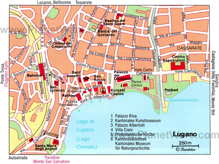 Map of Lugano Attractions | PlanetWare