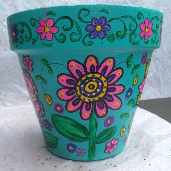 Hand painted flower pot by LotsAndLotsOfPots on Etsy