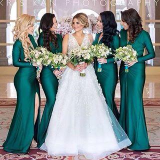 Vestido de dama Verde esmeralda