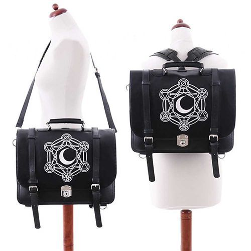 Moon Messenger schouder/rug tas met alchemie symbolen zwart - Gothic Metal Occult - Restyle