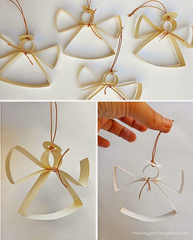 Estos angelitos no son de origami, pero me encantaron apenas los ví y me decidí a hacerlos. Se realizan con 4 tiras de papel (dos para lo...