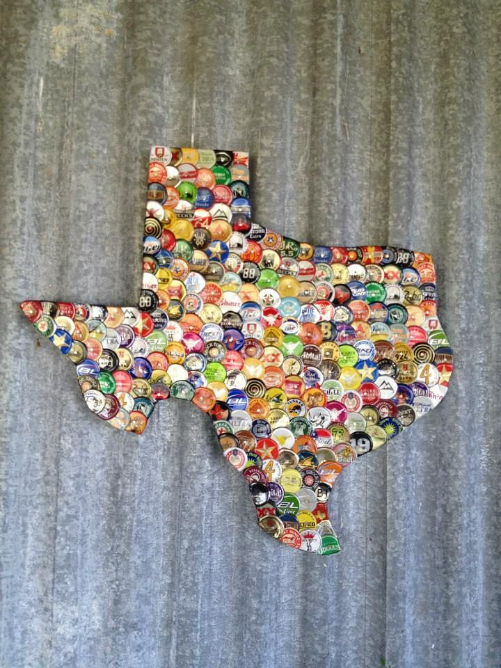 Mosaic Beer Cap Texas Check us out on Facebook/madcapcreations!
