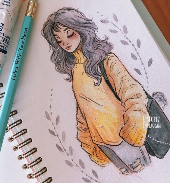 long-haired girl oversized sweater messenger bag holey jeans