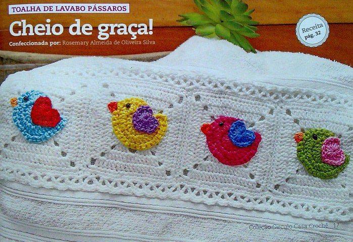 Squares com passarinhos (squares with birds) with instructions and diagram to follow. ☀CQ #crochet #grannysquare #motifs http://www.pinterest.com/CoronaQueen/crochet-granny-squares-and-motifs-corona/