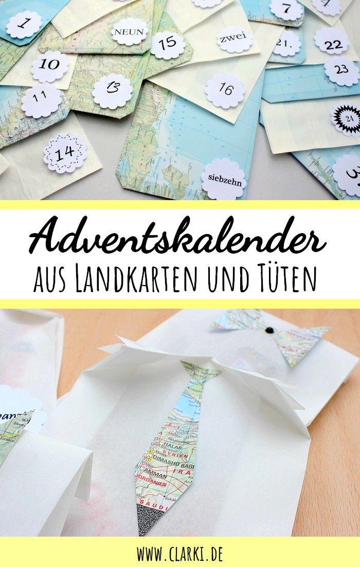 DIY Adventskalender aus alten Landkarten und Butterbrottüten einfach ...
